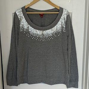 Merona Grey Sequin Sweatshirt
